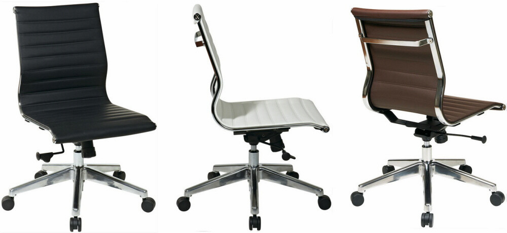 Office star contemporary mid back armless office chair 73638
