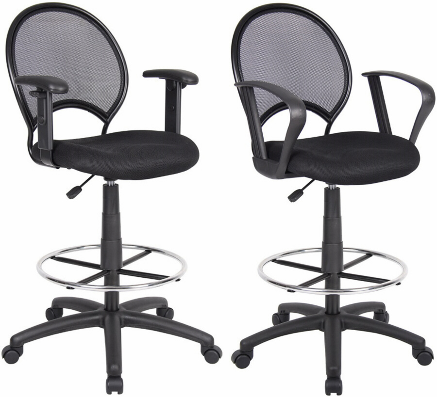 Boss Black Mesh Back Drafting Stool B16215